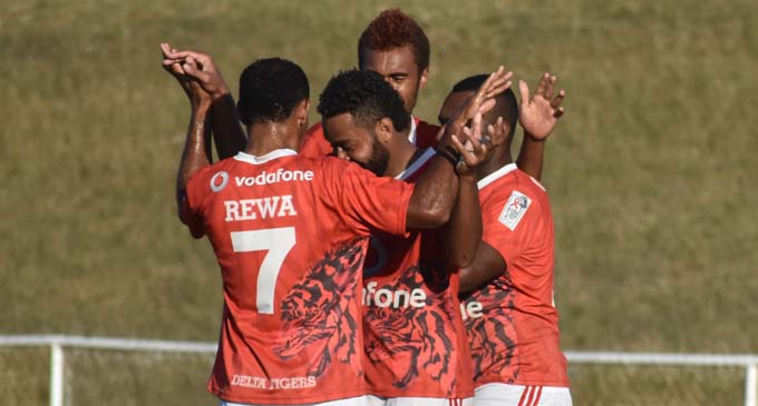 Rewa players celebrate the goal by Misaele Draunibaka against Nadi's Afraaz Ali at Prince Charles Park in Nadi on August 13, 2017. Photo: Waisea Nasokia