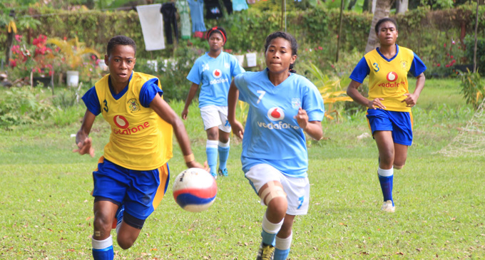 Action from the girls competition during the Vodafone Fijian Secondary Schools Football Championship at Ratu Cakobau Park on August 14, 2017. Photo: Vodafone Fiji