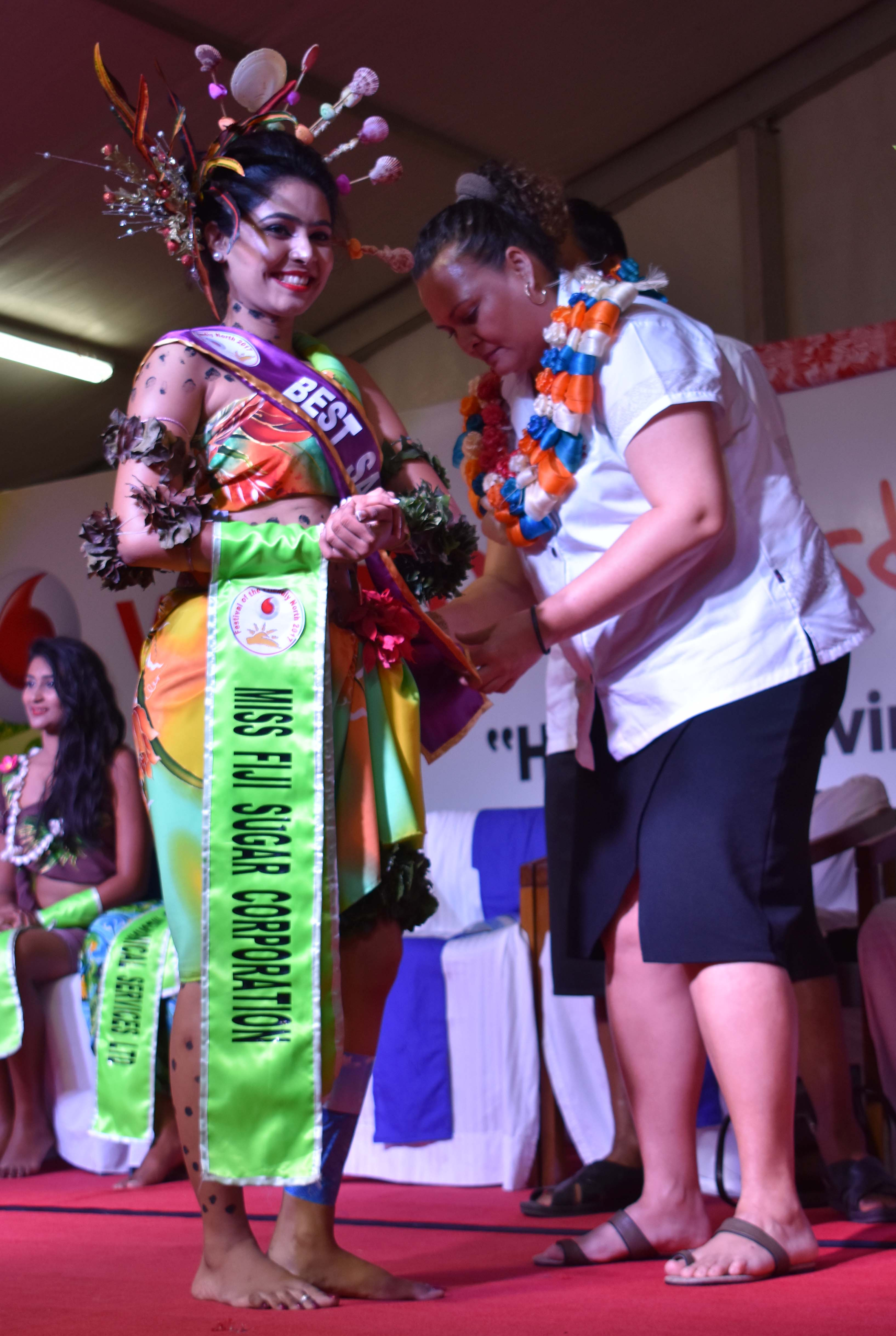 Miss Fiji Sugar Corporation Sheral Chand won the Best Sarong award during the Vodafone Festival of the Friendly North Fiji Gas Pacific Night at Subrail Park in Labasa on August 21, 2017. Photo: Shratika Singh