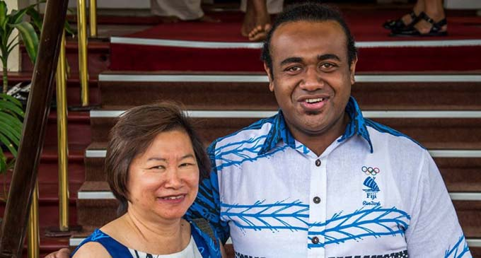 Fiji Association of Sports and National Olympic Committee (FASANOC) chief executive officer Lorraine Mar (left) with her events, sponsorship and marketing manager Sitiveni Tawakevou. Photo: FASANOC
