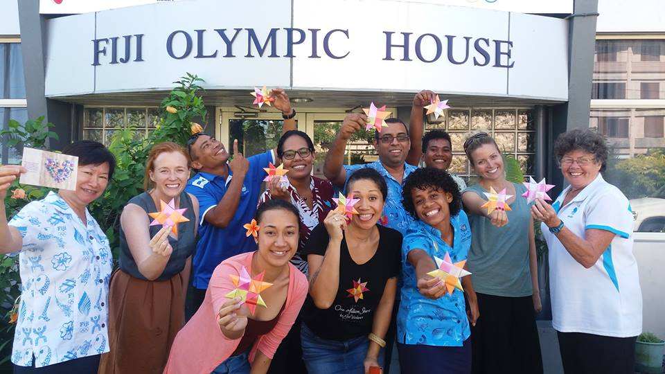 Fiji Association of Sports and National Olympic Committee (FASANOC) chief executive officer Lorraine Mar (left) with staff at the Fiji Olympic House. Photo: FASANOC