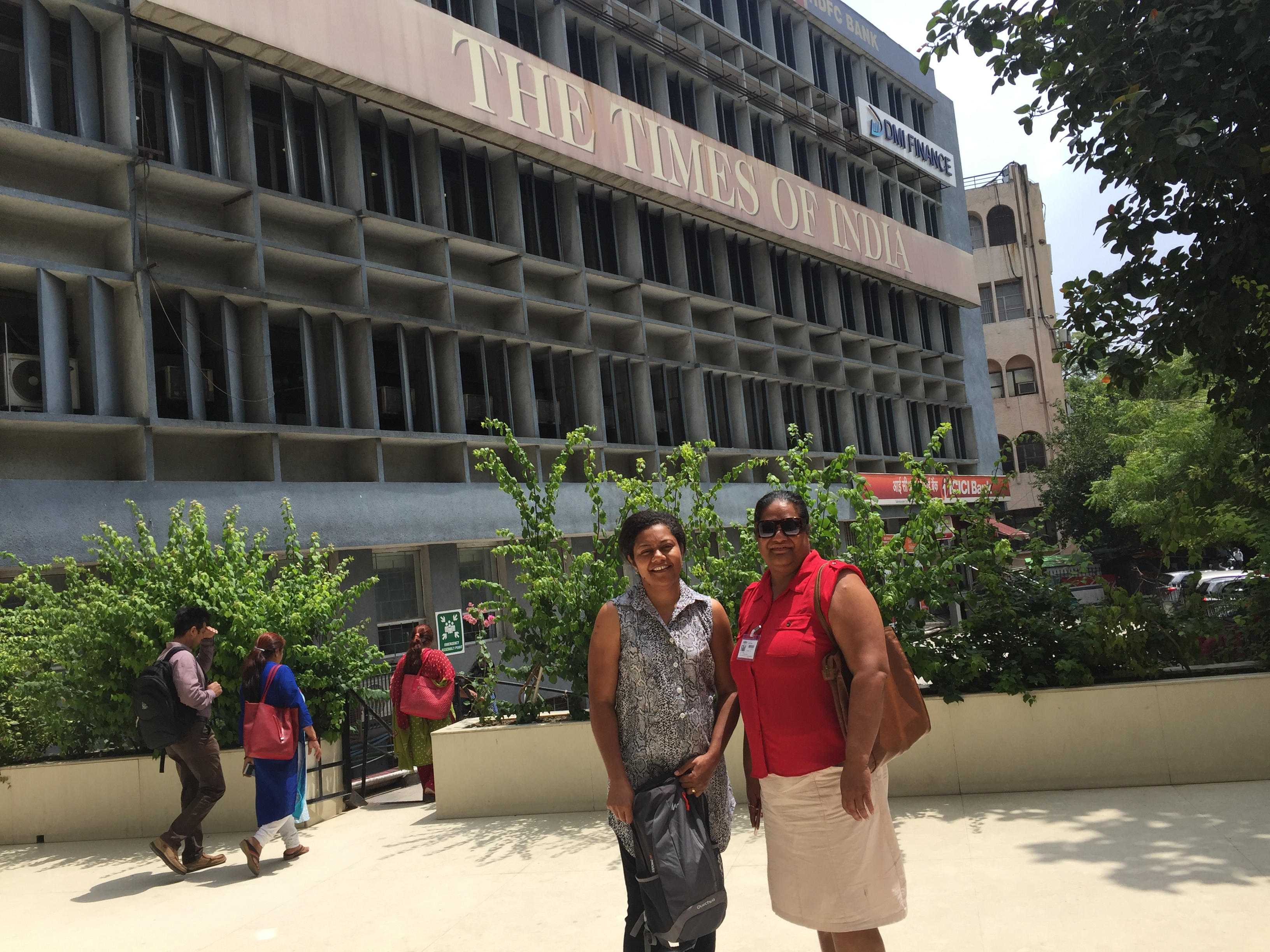 Rosi Doviverata and Soko Vakacegu outside the Times of India Group offices in New Delhi.