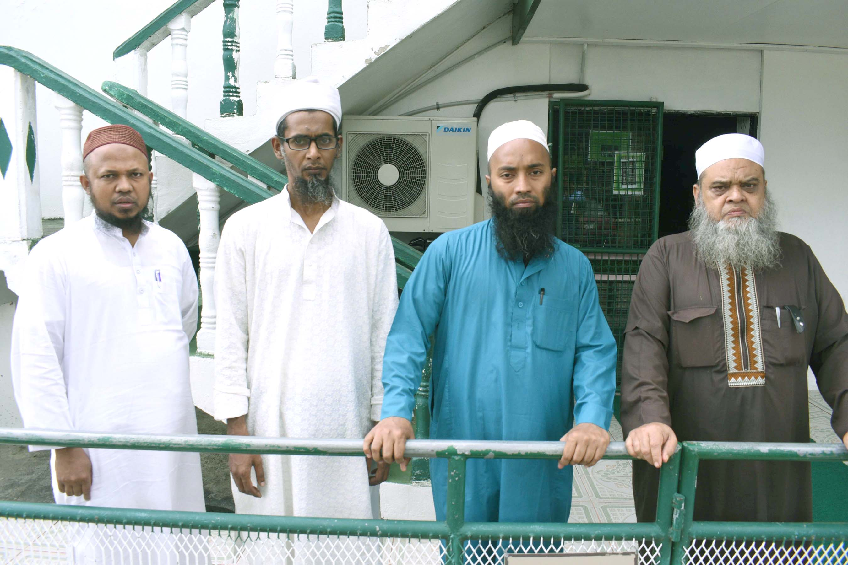 Visiting Muslim clergies from Bangaldesh missing their companion who was mowed down in front of the Mosque on Saturday 9th, September. From left, Mohammed Kamruzzaman, Hafej Nazmul Hauque, Rejaur Rahman and Haji Mohammed Idris. Photo:Jone Luvenitoga