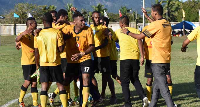 Tavua football team celebrates after defeating Seaqaqa in the Vodafone Senior League competition on September, 2, 2017. Photo: Shratika Singh