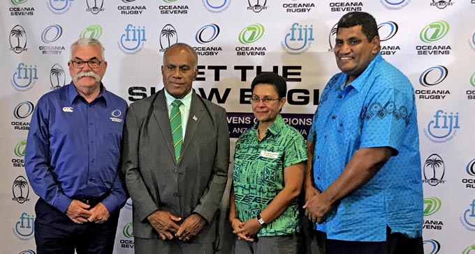 From left; Oceania Rugby and World Rugby rugby services manager Bruce Cook, Minister for Youth and Sports Laisenia Tuitubou, Oceania Rugby Board independant director for women's rugby Cathy Wong and Fiji Rugby Union chief executive officer John O'Connor at the Grand Pacific Hotel in Suva on September 19, 2017. Photo: Kogo Fujiki