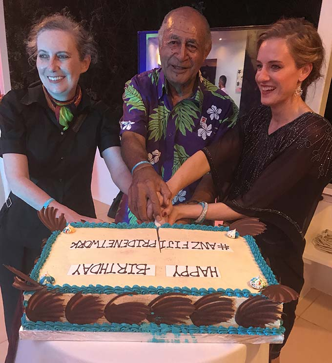 From left: Australia's High Commissioner to Fiji Margaret Twomey, Former President Ratu Epeli Nailatikau and ANZ Regional Executive Pacific Tessa Price cut the cake at the ANZ Pride Fiji Network cocktail function in Suva on September 1, 2017.  Photo: Maraia Vula