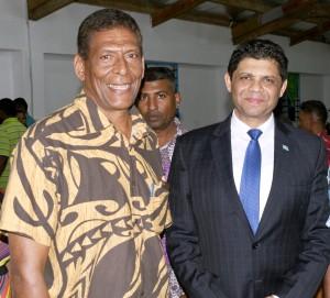 Acting Prime Minister and Attorney-General Aiyaz Sayed-Khaiyum with Omkar community leader and retired Republic of Fiji Military Forces officer Major Samuela Tupou on September 13, 2017.  Photo: Vilimoni Vaganalau