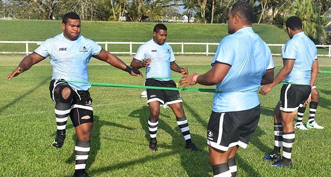 Fiji Airways Drua team during training at the Lawaqa Park in Sigatoka yesterday. Photo: WAISEA NASOKIA