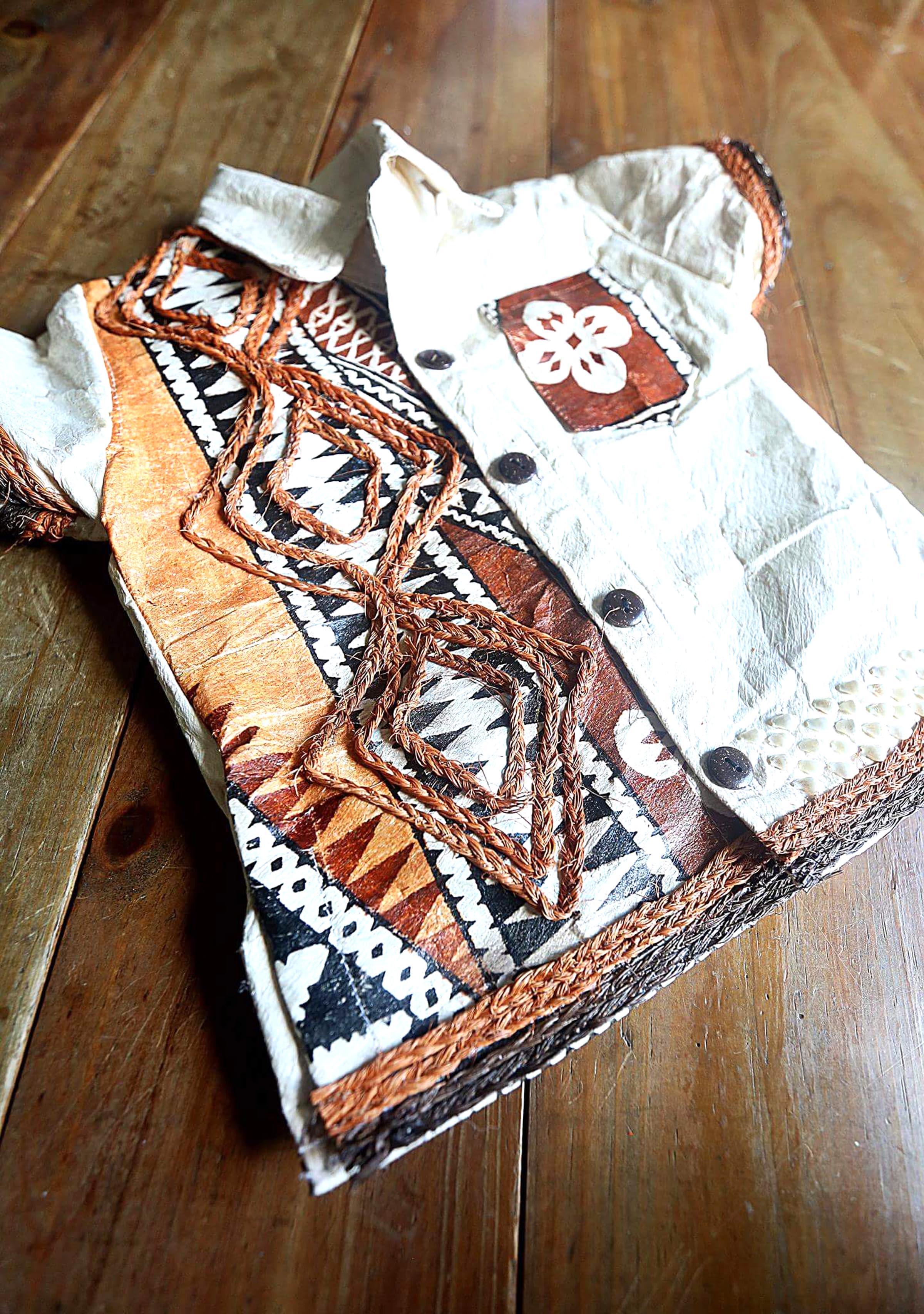 A tapa dress created by Tabuadrau Designs.