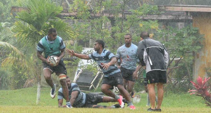 Fiji Airways 7s players during training at the Uprising Beach Resort on October 19, 2017. Photo: Jone Luvenitoga