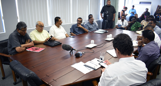 Fiji Bus Operators Association members and e-Transport stakeholders during the press conference in Suva on October 2, 2017. Photo: Jone Luvenitoga
