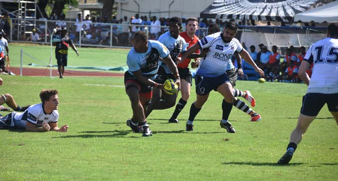 Fiji Airways Drua No.8 Peni Raidre looks for support against Queensland Country at  Churchill Park, Lautoka on October 21, 2017. Photo: Arieta Vakasukawaqa