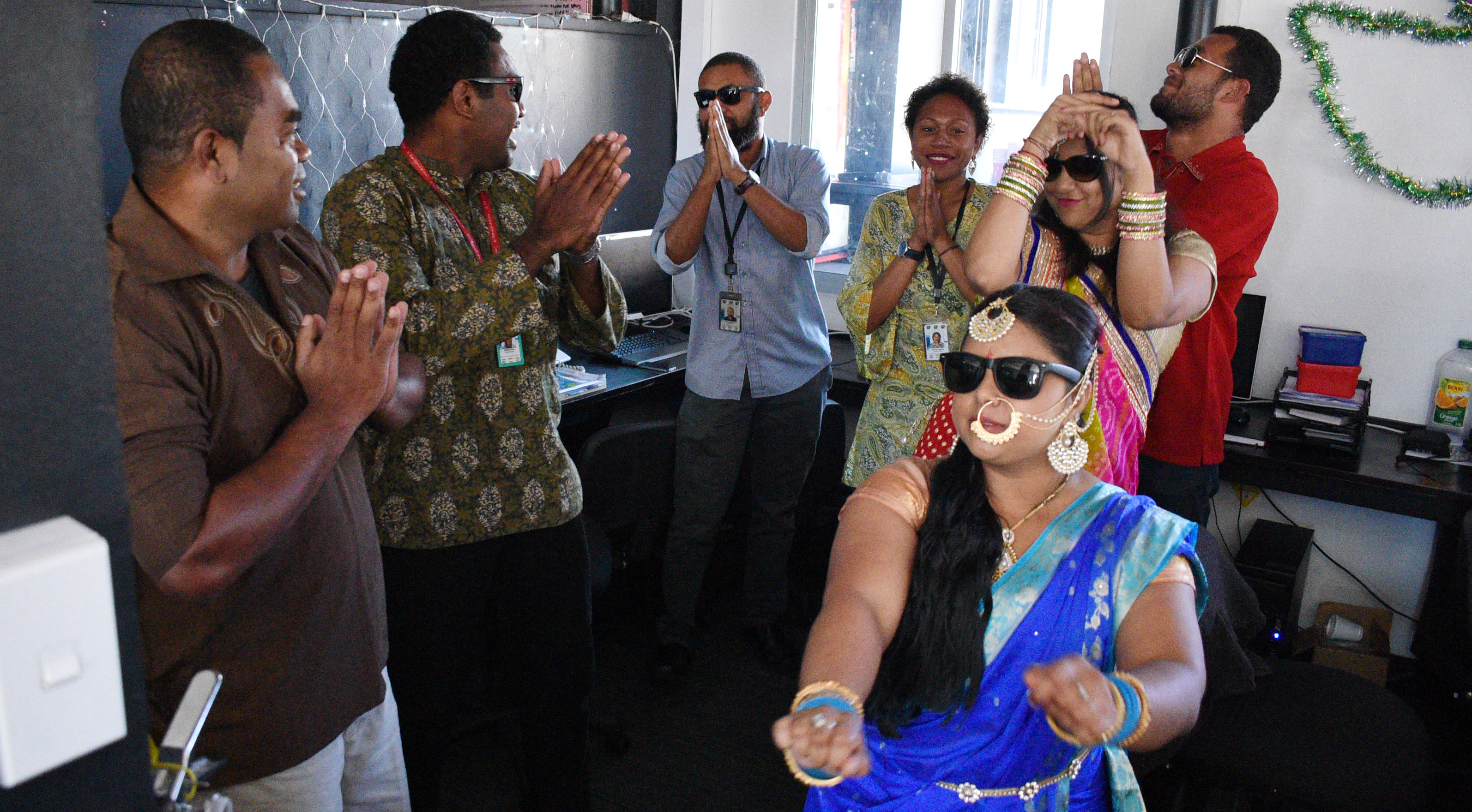 Fiji Broadcasting Corporation staff during their Diwali celebration at their office in Suva on October 18, 2017. Photo: Ronald Kumar.
