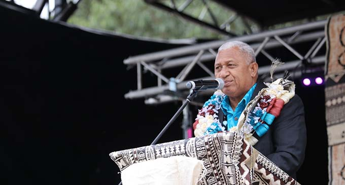 Hon Prime Minister Voreqe Bainimarama at the official Fiji Day Program in Sydney