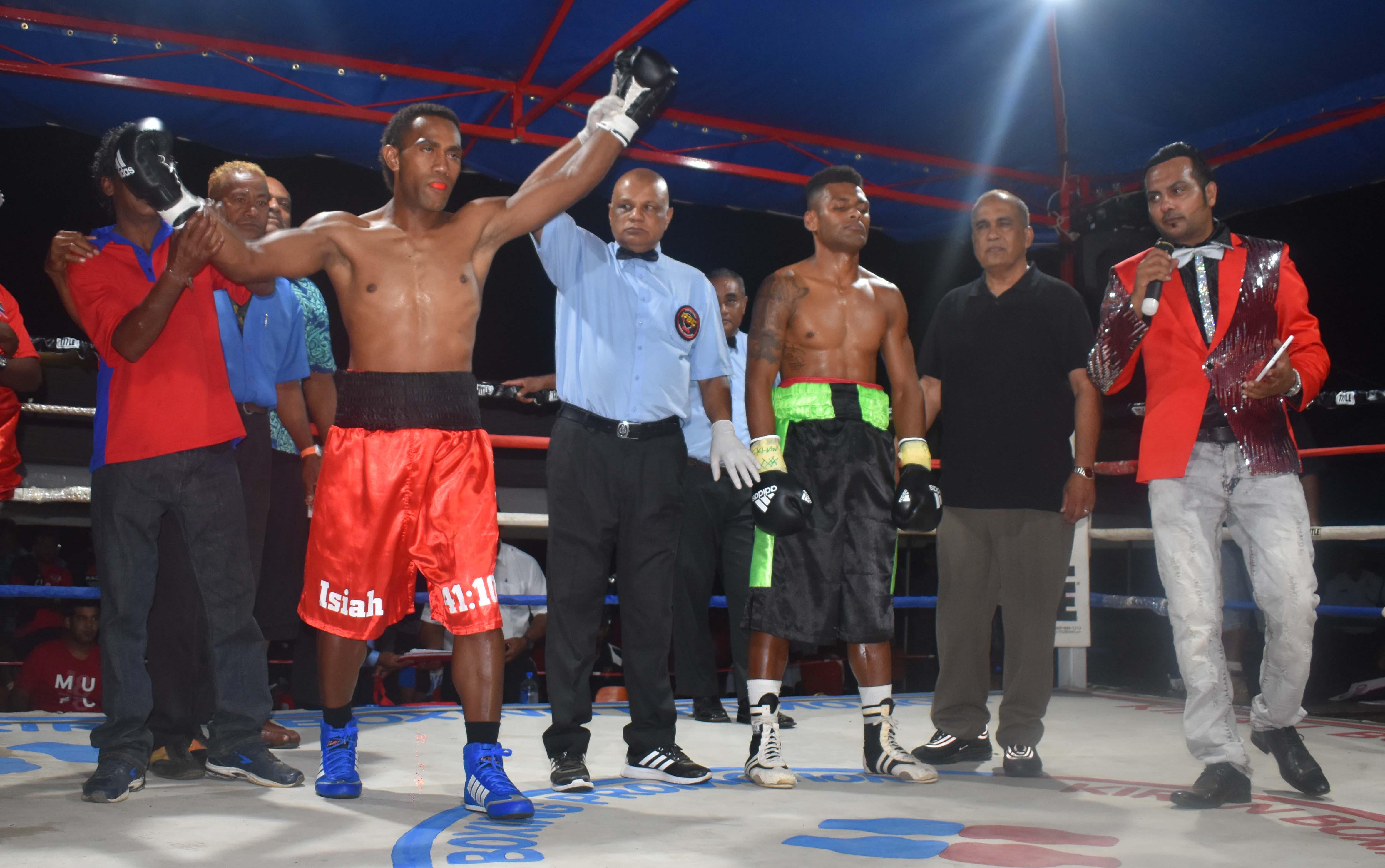 Siliveni Nawai at the end of the boxing programme at the Prince Charles Park in Nadi last Friday night. Photo: WAISEA NASOKIA