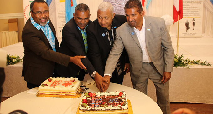 From left: Fiji's Ambassador to the United States and non-resident High Commissioner to Canada Solo Mara, Minister for Industry, Trade, Tourism, Lands and Mineral Resources Fayaz Koya and Prime Minister Voreqe Bainimarama in Vancouver, Canada during the Fiji Day reception. Photo: DEPTFO News