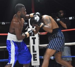 Malakai Marama beats Rahul Pillay in the boxing programe at the Prince Charles Park in Nadi last night. Photo: WAISEA NASOKIA