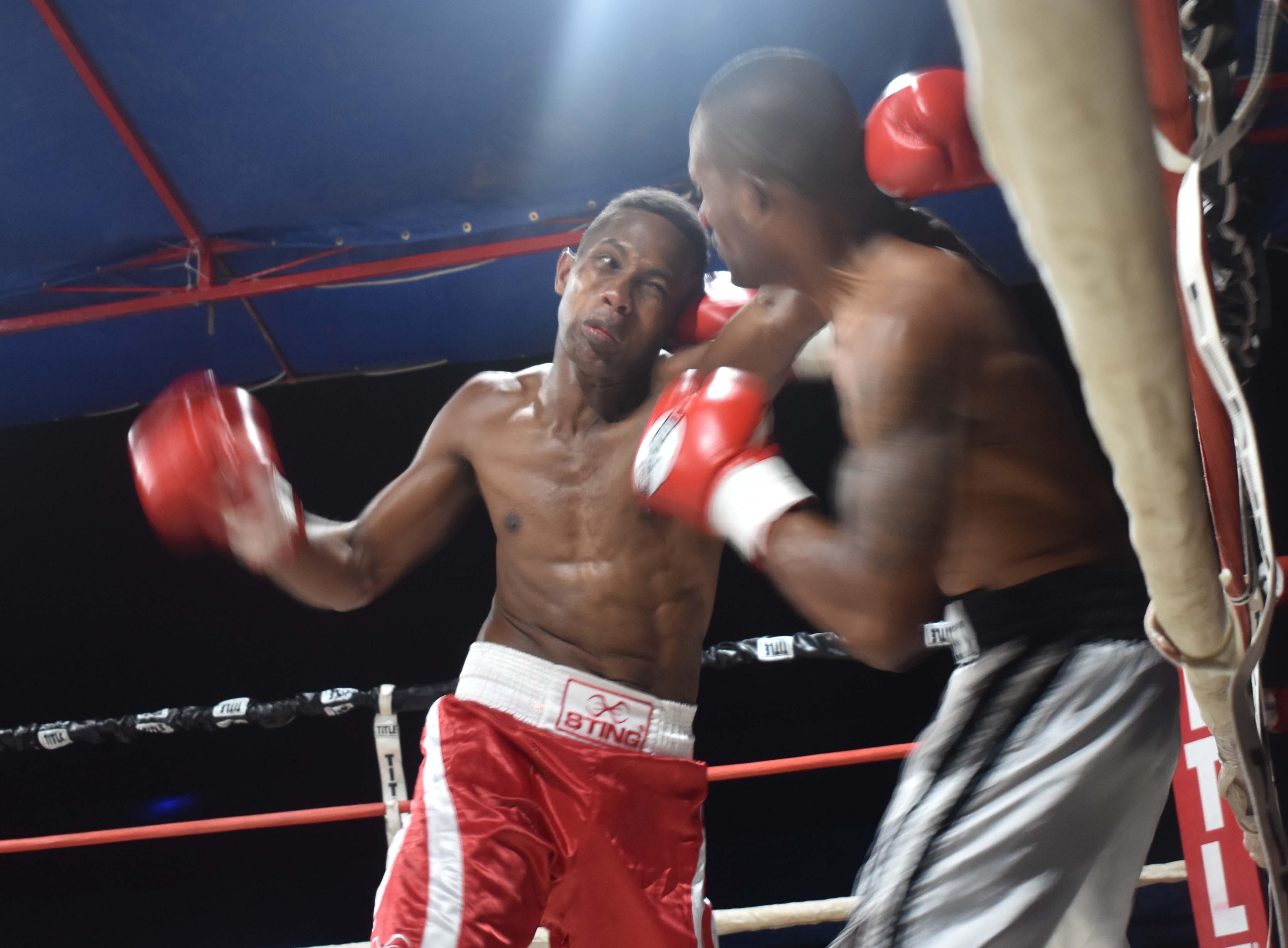 Iosefo Cakaunivalu - Tevita Seta in the boxing programe at the Prince Charles Park in Nadi last night. Photo: WAISEA NASOKIAi