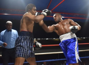Malakai Marama jabs Rahul Pillay in the boxing programe at the Prince Charles Park in Nadi last night. Photo: WAISEA NASOKIA
