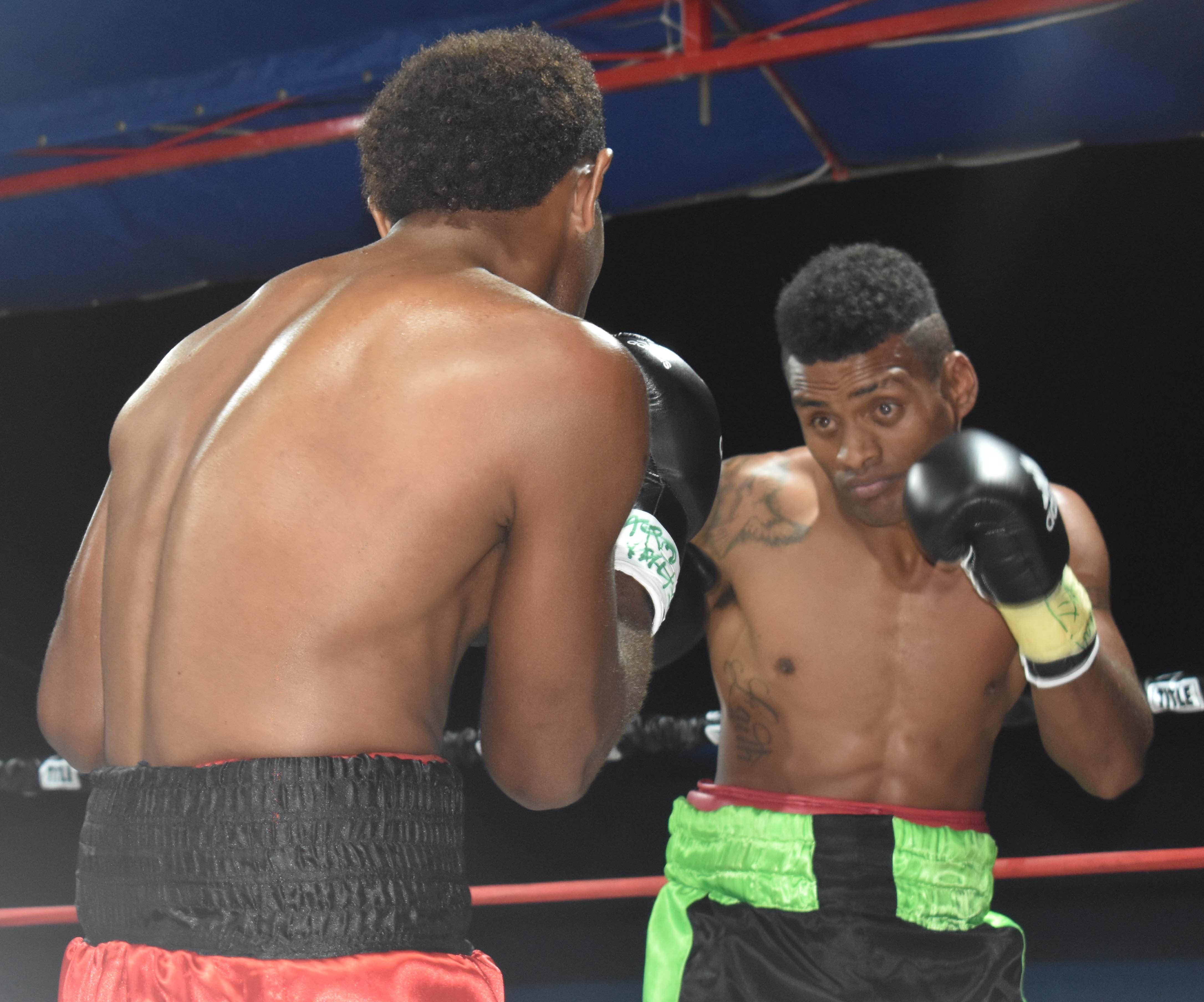Jese Ravudi on the go against Siliveni Nawai at the Prince Charles Park in Nadi last Friday night. Photo: WAISEA NASOKIA