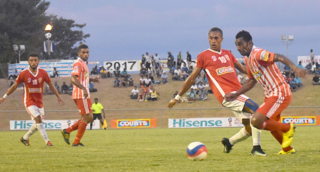 Labasa Taniela Waqa wins over Rewa at the Courts IDC at Churchill Park in Lautoka yesterday. Photo: WAISEA NASOKIA