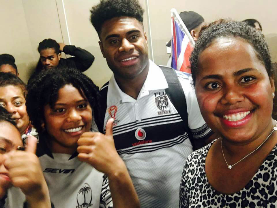 Vodafone Fijian Bati  captain Kevin Naiqama(second from left) with fans at Wellington Airport on November 12, 2017.   Photo: Alisi Ramacake