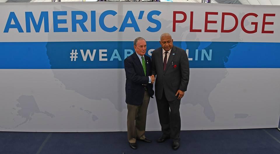 Prime Minister Voreqe Bainimarama with American media mogul Michael Bloomberg in Bonn, Germany. Photo: DEPTFO News
