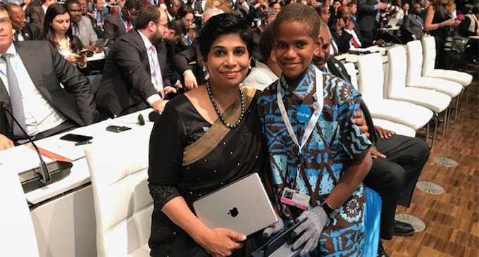 COP23 Fiji's Chief Negotiator Ambassador Nazhat Shameem Khan with 12-year-old Timoci Naulusala who delivered a powerful speech to world leaders in Bonn, Germany.