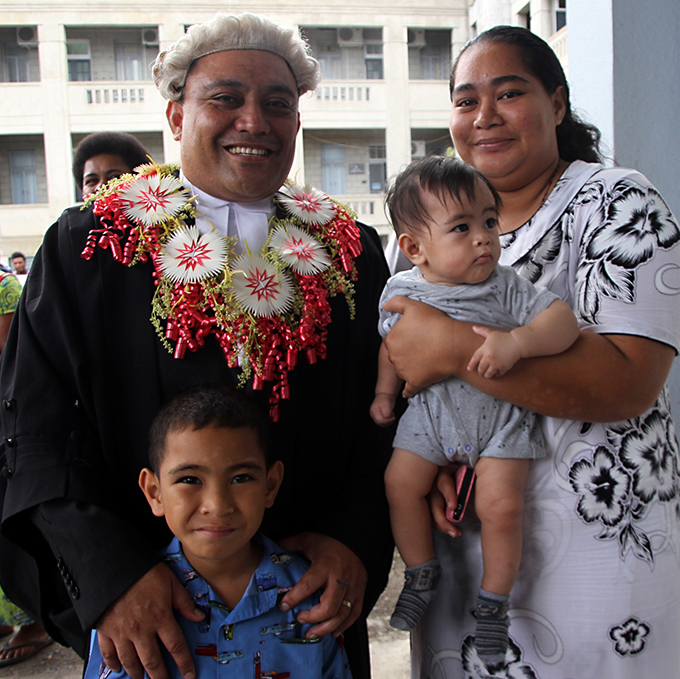 Raymond Filipe with wife Kellie Filipe,son Anthony Filipe and Kylan Filipe during the admission ceremony for the newly admitted legal practitioners at the Suva high court on November 9, 2017.Photo:Vilimoni Vaganalau.