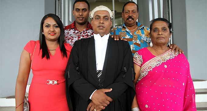 From left:Asmeeta Ram,Ronal Ram,Ronil Ravinesh Ram,Tula Ram and Kusum Anjali during the admission ceremony for the newly admitted legal practitioners at the Suva high court on November 9, 2017.Photo:Vilimoni Vaganalau.
