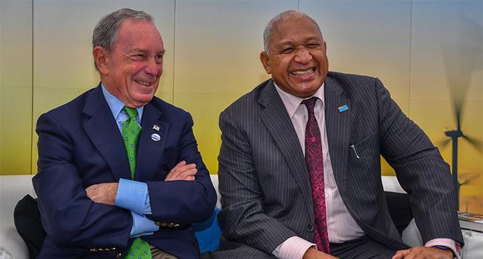 Prime Minister Voreqe Bainimarama with American media mogul Michael Bloomberg in Bonn, Germany on November 11, 2017.  Photo: DEPTFO News