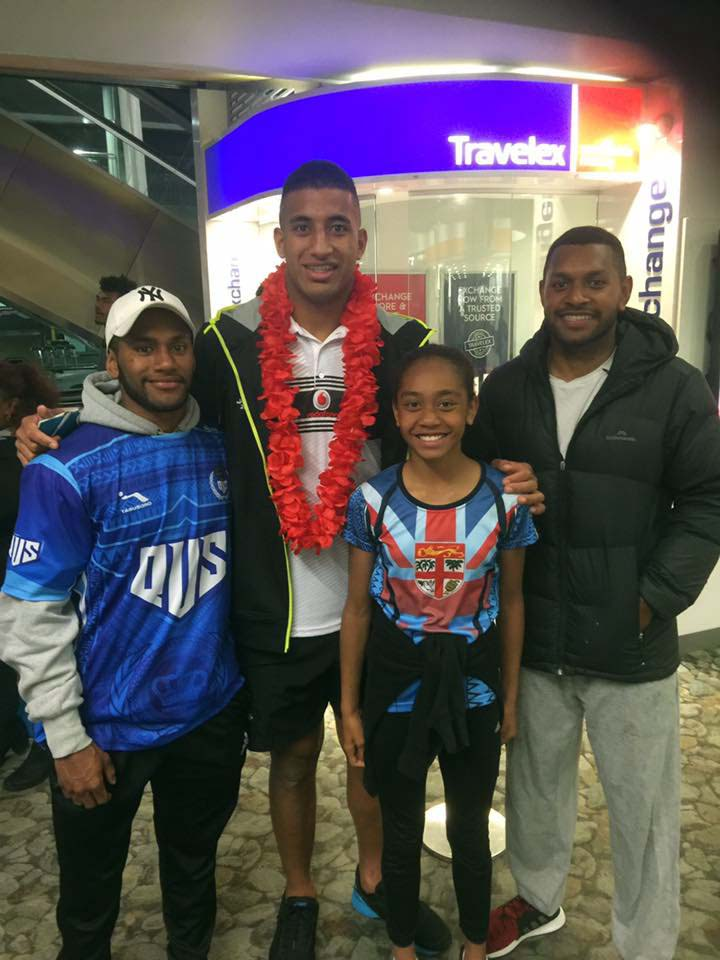 From left; Ratu Sikeli Tabakaucoro,Vodafone Fijian Bati rep Viliame Kikau, Adi Vasemaca Tuiburelevu and Ratu Ilaitia Varani Junior  at Wellington Airport on November 12, 2017.  Photo: Luse  Tiqatabua