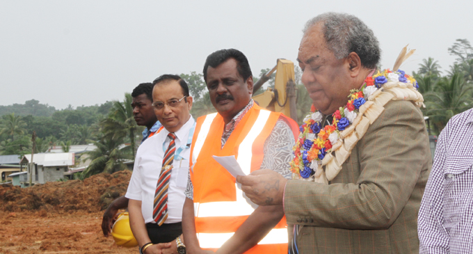 Minister for Local Government, Housing, Environment, Infrastructure and Transport Parveen Bala (middle), with Housing Authority chief executive officer Punit Sethi (left), and Methodist Church in Fiji president-elect Reverend Epineri Vakadewavosa, at the groundbreaking ceremony of the Davuilevu Residential Subdivision on December 7, 2017. Photo: Wati Talebula