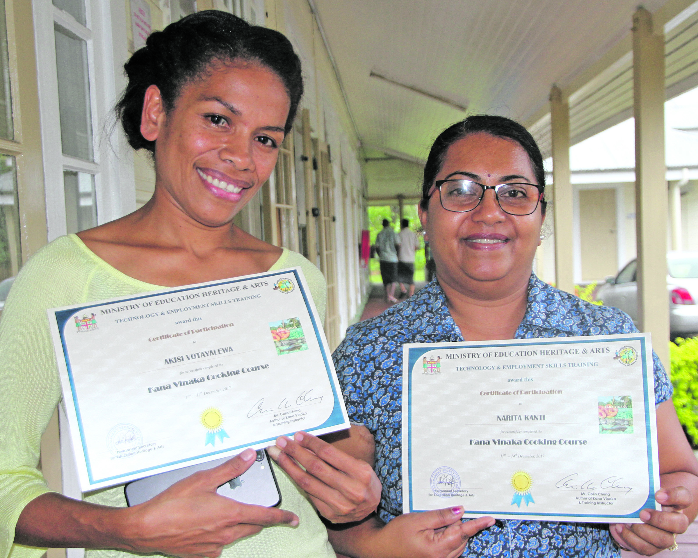 Kana Vinaka cooking course certificate recipients Akisi Votayalewa and Narita Kanti at Technical College Suva on December 14, 2017. Photo: Ronald Kumar.