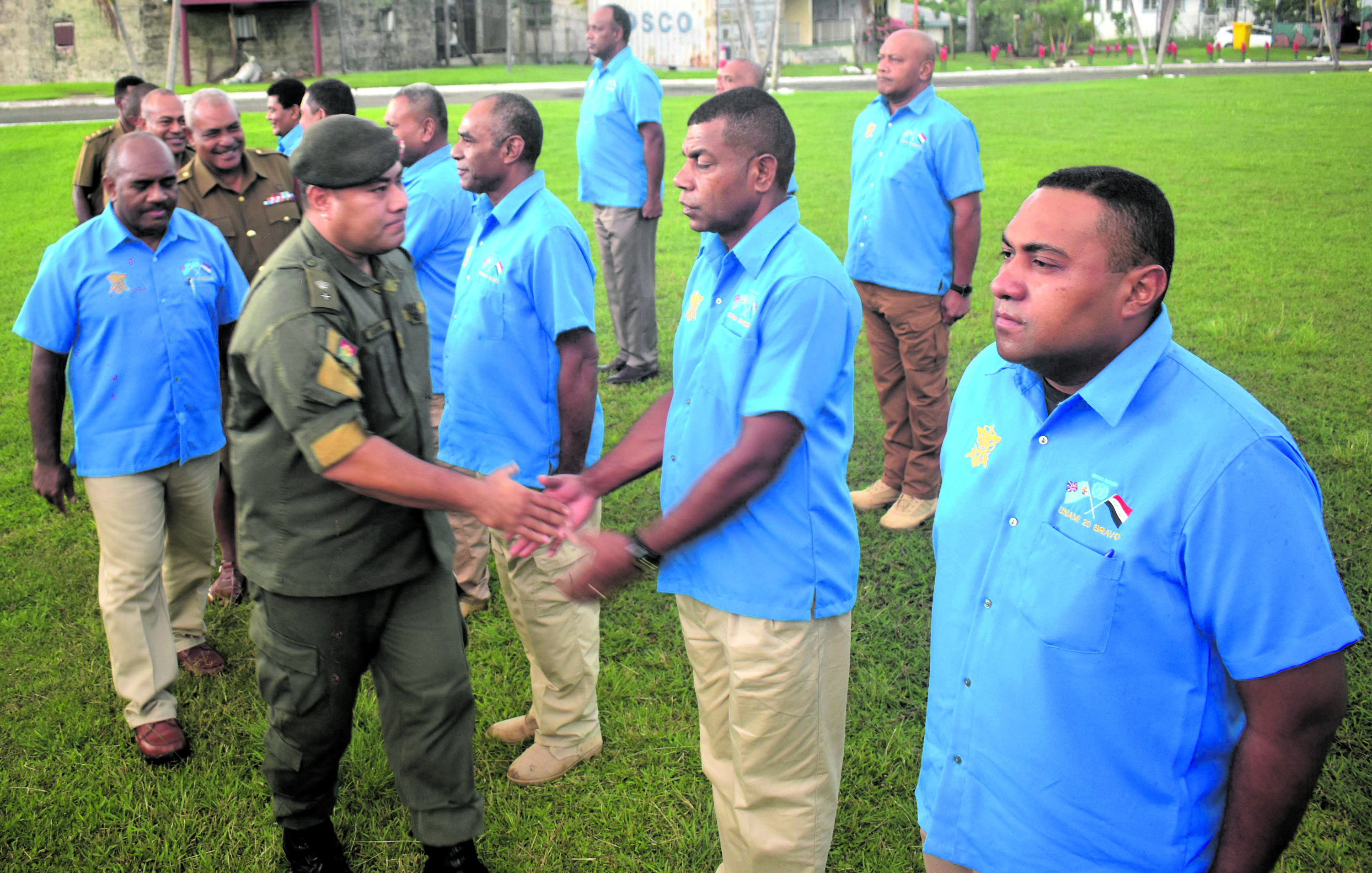 Director Peacekeeping Support Operations and Military Adviser to the Republic of Fiji Military Force, Lieutenant Colonel Pacolo Luveni farewells the officers in Nadi on Monday. Photo: WAISEA NASOKIA