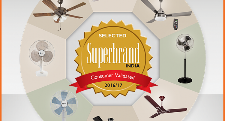 Orient Fans Conferred By Superbrand India