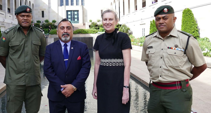 From left: Republic of Fiji Military Forces (RFMF) officer currently studying in Australia, Major Neumi Vakadewabuka, Fiji's High Commissioner to Australia, Yogesh Punja, former Australian High Commissioner to Fiji Margerat Twomey and RFMF officer currently studying in Australia Major Mikaele Wara.