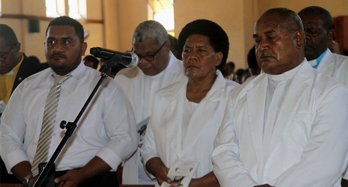 From right: Newly ordained Methodist Divisional Superintendent Suva, Rev. Iliapi Tuiwai with wife Timaima Tuiwai and son Serupepeli Tuiwai in Suva. Photo: Losirene Lacanivalu
