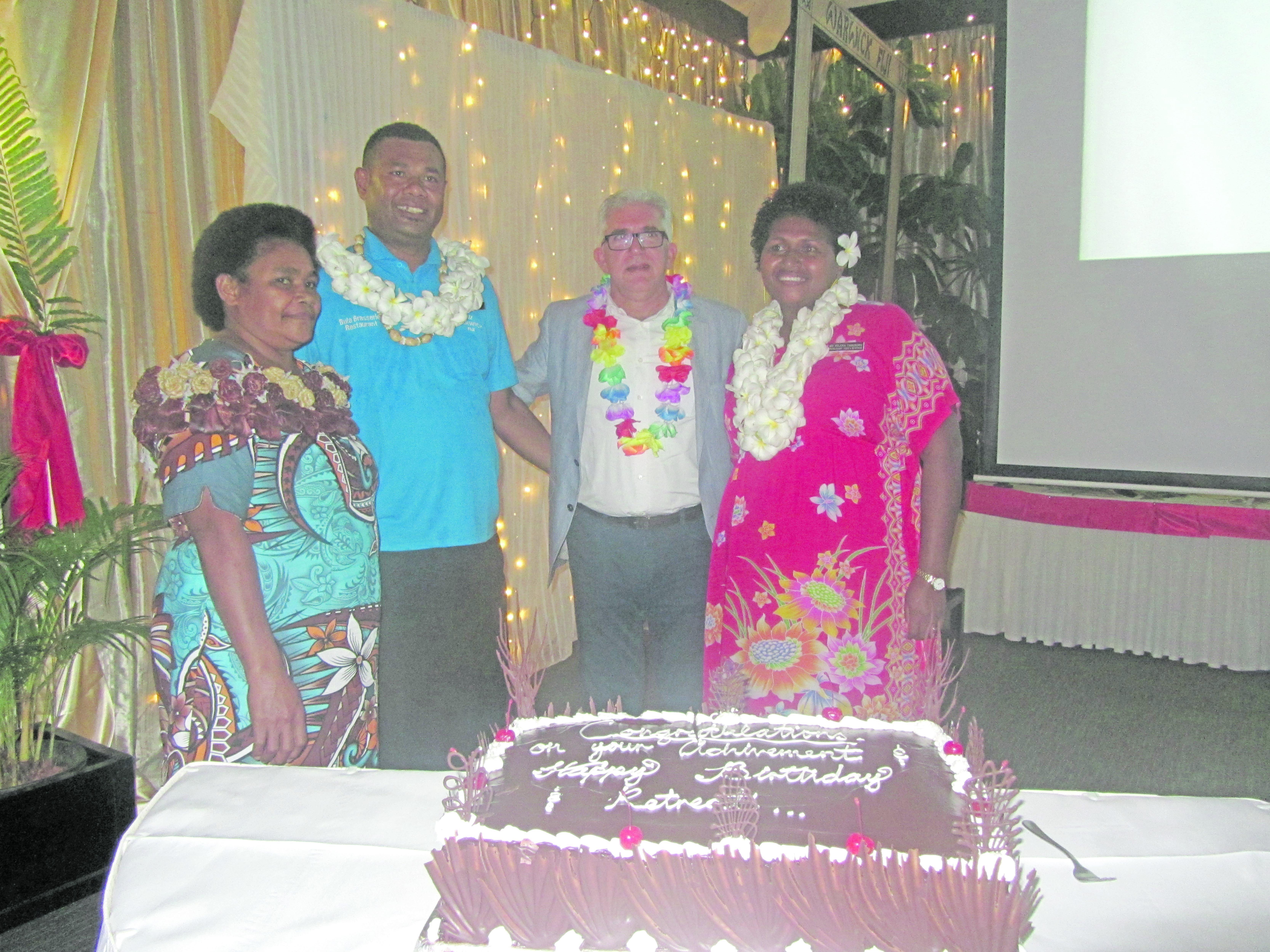 Warwick Fiji award winners Adi Tea Simo, Amenisitai Lewaqamuqamu and Adi Kelera Tabusoro. with general manager Charles Homsy (third from left).  Photo: Warwick Fiji