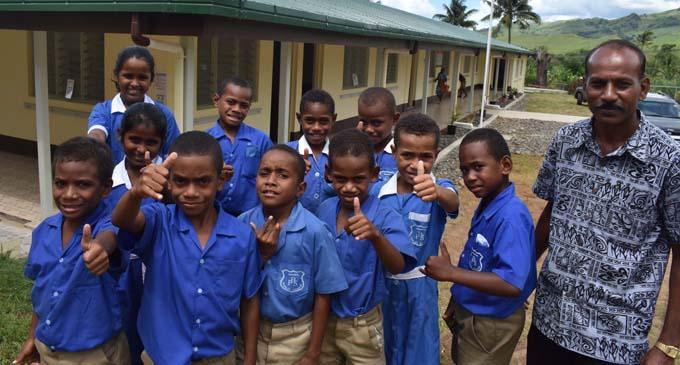 Some students of Balevuto Primary School with a teacher on January 26, 2018. Photo: Waisea Nasokia