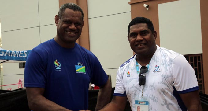 2017 Suva Rugby head coach Saiasi Fuli (right) now is the Fiji Airways Fijian 7s assistant coach and with him is former Suva No.8 Alifereti  Mocelutu who now coaches Solomon Islands. Photo: Peni Komaisavai.