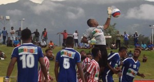 Labasa goalkeeper Akuila Mateisuva makes a save against Lautoka on January 12, 2018. Photo: Waisea Nasokia