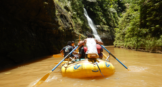 White water rafting at the Upper Navua Conservation Area. Photo: Rivers Fiji.