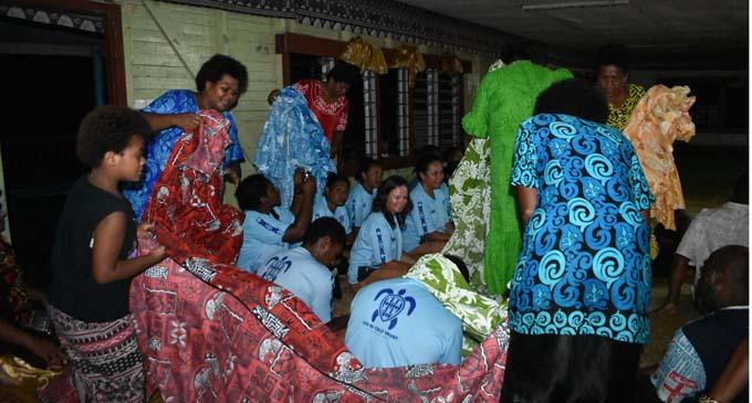 Women of Naduri welcoming the crew of the Uto Ni Yalo at the village hall on January 12, 2018. Photo: Wati Talebula