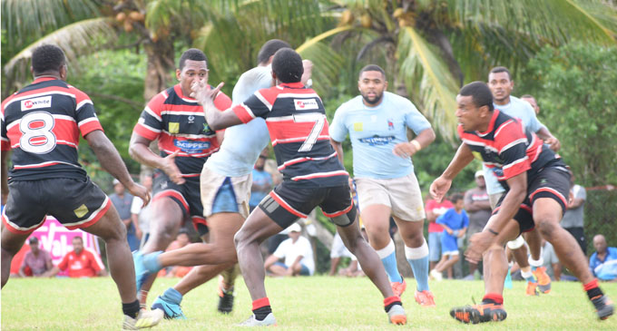 Suva centre John Stewart takes on the Naitasiri defence in the Skipper Provincial Rugby 10s final at Bidesi Park, Suva on January 13, 2018. Photo: Peni Komaisavai.