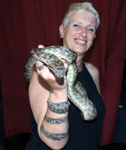 Helen Sykes with her pet snake at Lami on January 6, 2017.Photo:Vilimoni Vaganalau.