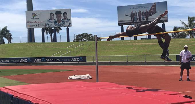 Malakai Kaiwalu clears the bar during the first time trials at the ANZ Stadium, Suva on January 20, 2018. Photo: Anasilini Ratuva