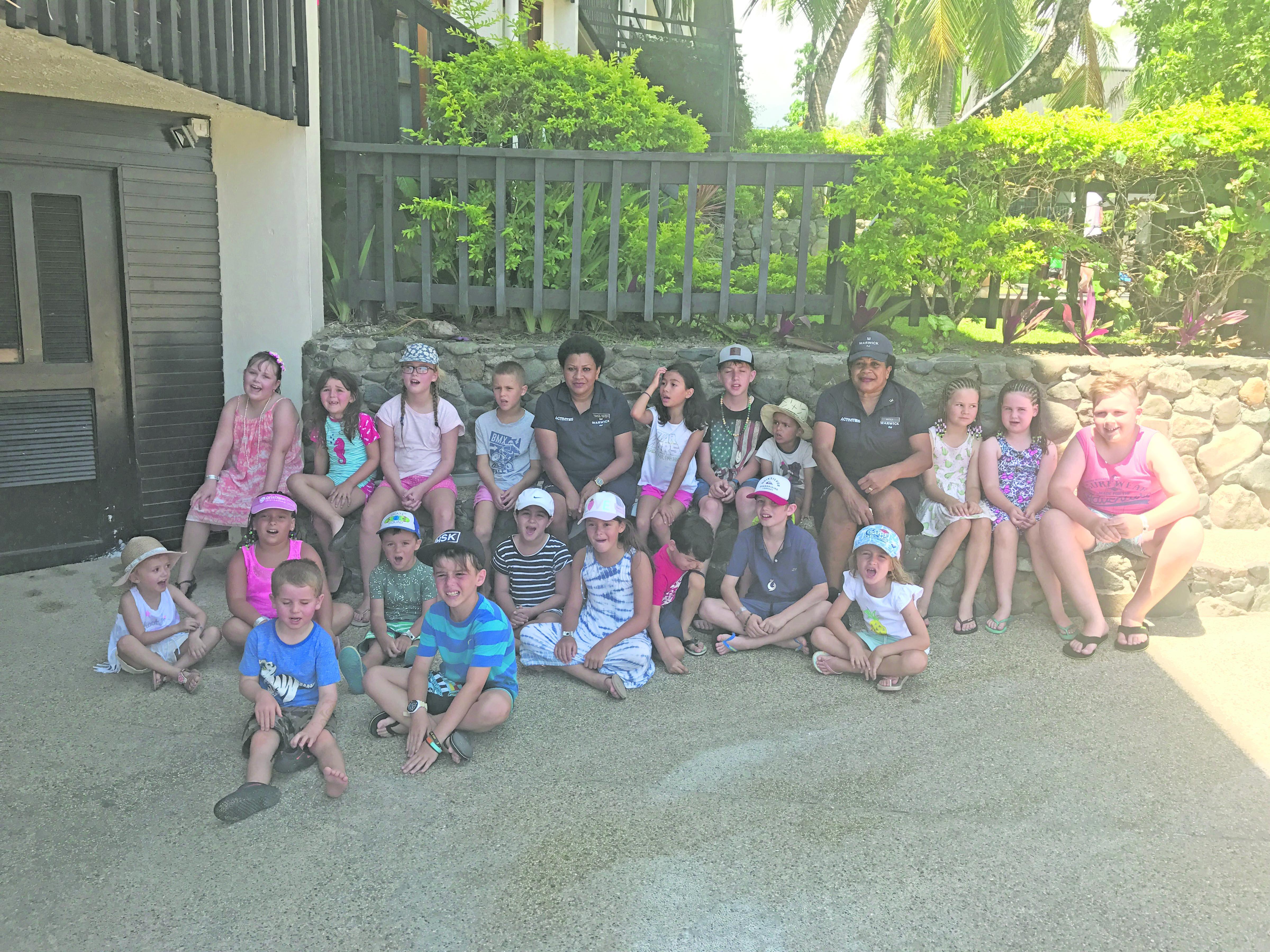 Staff of Warwick Fiji with children at the resort on January 5, 2018. Photo: Maraia Vula