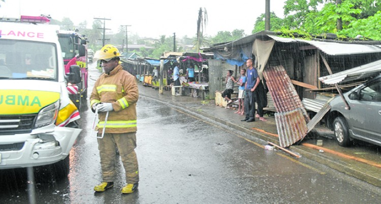 Ambulance, Taxi, Crash Amid Heavy Rain