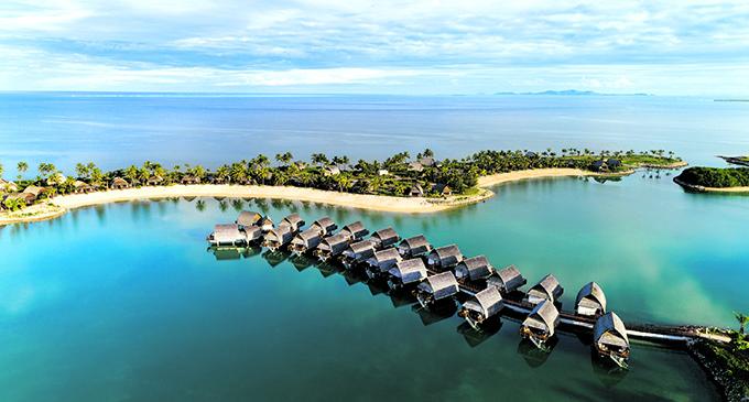 Aerial view of Fiji's first overwater resort, Marriott Fiji Momi Bay.